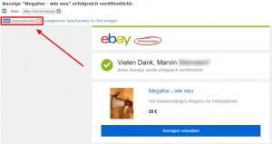 Das Verkaufsschild in der Mail von ebay kleinanzeigen