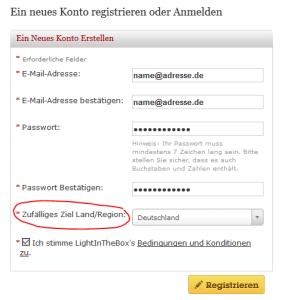 LightInTheBox Registrierung