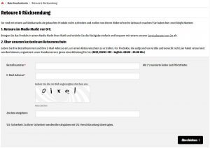 Schritt 2: Das Formular für den Widerruf / Umtausch ausfüllen.