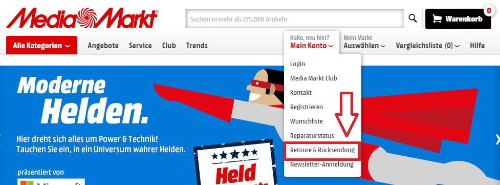 Umtaschen und Retoure auf www.mediamarkt.de