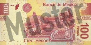 100 mexikanische Pesos (MXN) - Banknote / Geldschein - Hinten / Rückseite