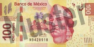 100 mexikanische Pesos (MXN) - Banknote / Geldschein - Vorne / Vorderseite