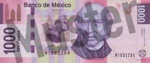 1000 mexikanische Pesos (MXN) - Banknote / Geldschein - Hinten / Rückseite