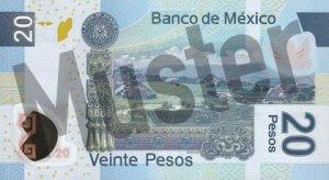 20 mexikanische Pesos (MXN) - Banknote / Geldschein - Hinten / Rückseite