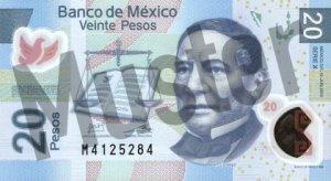 20 mexikanische Pesos (MXN) - Banknote / Geldschein - Vorne / Vorderseite
