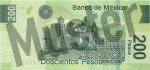 200 mexikanische Pesos (MXN) - Banknote / Geldschein - Hinten / Rückseite