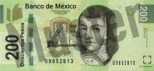 200 mexikanische Pesos (MXN) - Banknote / Geldschein - Vorne / Vorderseite