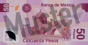 50 mexikanische Pesos (MXN) - Banknote / Geldschein - Hinten / Rückseite