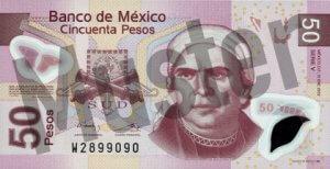 50 mexikanische Pesos (MXN) - Banknote / Geldschein - Vorne / Vorderseite