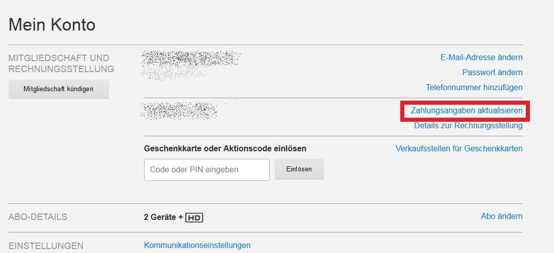 Netflix Kontodaten ändern