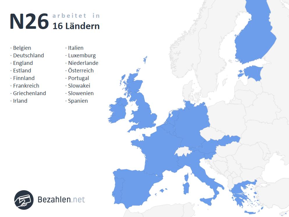 N26 ist in 16 Ländern Europas vertreten