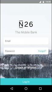 Anmeldebildschirm der N26 App