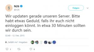 N26 Fehlermeldung bei Twitter