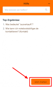 Chat starten bei notebooksbilliger