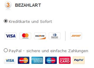 Bezahlen Sie bei Onfancy per Kreditkarte oder Paypal