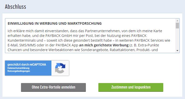 Einwilligungserklärung Datennutzung bei Payback.,