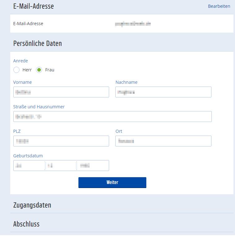Persönliche Daten bei der Neuanmeldung bei Payback.