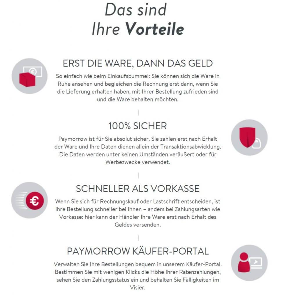 Die Vorteile von Paymorrow. Quelle: paymorrow.de
