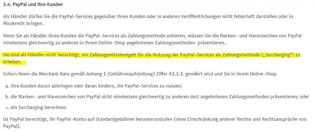 PayPal Gebühren dürfen nicht an den Kunden weitergegeben werden!