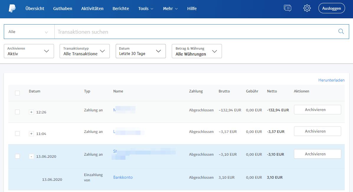 Transaktionsübersicht bei PayPal sehen