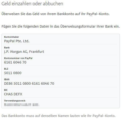 Paypal überweisungsdaten