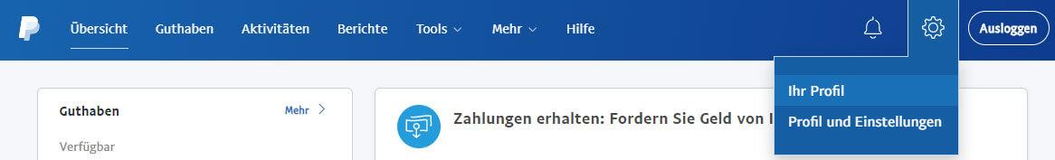 PayPal-Profil aufrufen
