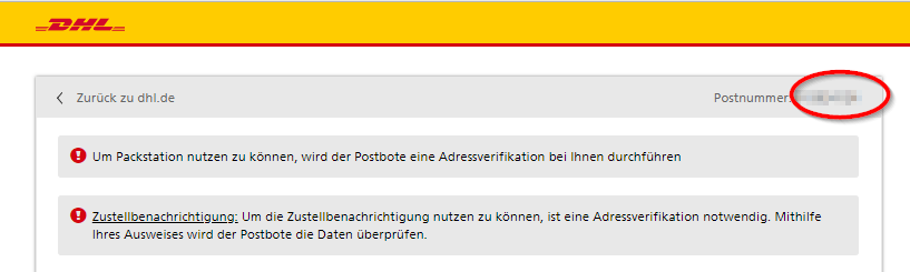 DHL Postnummer im Online-Portal.