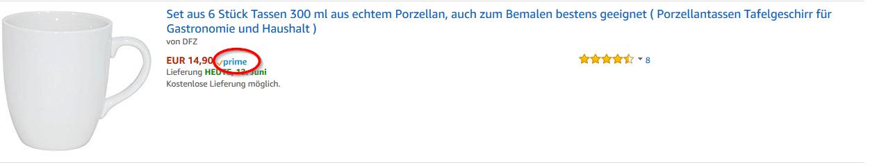Amazon Prime Gratis Premium Lieferung.