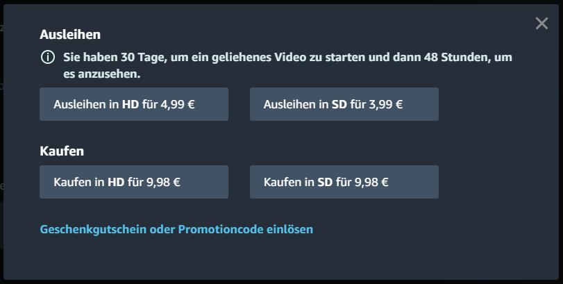 Bei Amazon Prime Video kaufen und leihen