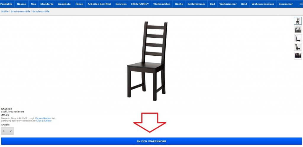 Legen Sie das Produkt in den Warenkorb (Quelle: wwww.ikea.com)