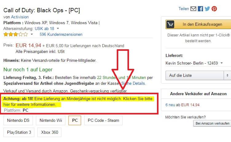 Amazon Altersverifizierung