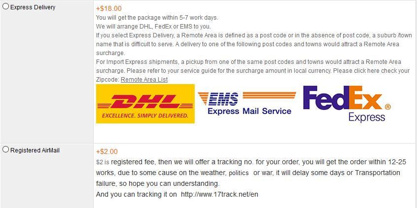 Bei RCTimer können Sie mit FedEx versenden