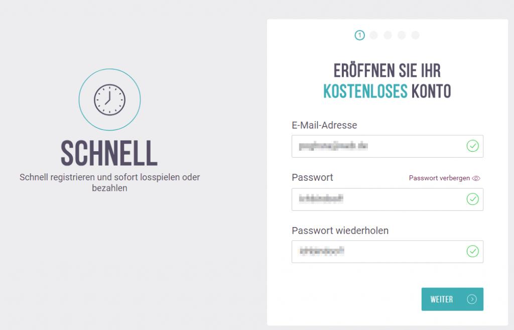 Skrill Registrierung.
