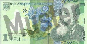 1 rumänischer Leu (RON) - Banknote /Geldschein - Vorne / Vorderseite