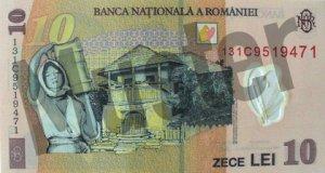 10 rumänischer Leu (RON) - Banknote /Geldschein - Hinten / Rückseite