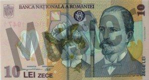 10 rumänischer Leu (RON) - Banknote /Geldschein - Vorne / Vorderseite