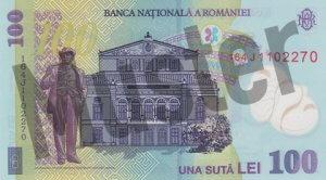 100 rumänischer Leu (RON) - Banknote /Geldschein - Hinten / Rückseite