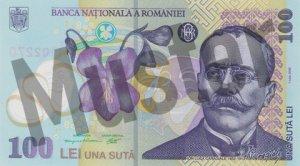 100 rumänischer Leu (RON) - Banknote /Geldschein - Vorne / Vorderseite