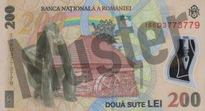 200 rumänischer Leu (RON) - Banknote /Geldschein - Hinten / Rückseite