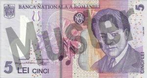 5 rumänischer Leu (RON) - Banknote /Geldschein - Vorne / Vorderseite