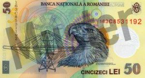 50 rumänischer Leu (RON) - Banknote /Geldschein - Hinten / Rückseite