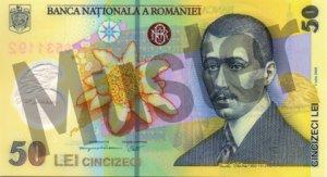 50 rumänischer Leu (RON) - Banknote /Geldschein - Vorne / Vorderseite