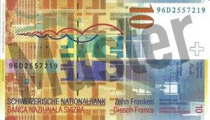 10 Schweizer Franken - CHF (Banknote / Geldschein) - Rückseite