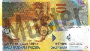 10 Schweizer Franken - CHF (Banknote / Geldschein) - Vorne