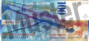 100 Schweizer Franken - CHF - Rückseite