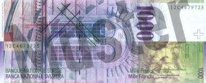 1000 Schweizer Franken - CHF (Banknote / Geldschein) - Rückseite