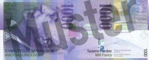 1000 Schweizer Franken - CHF (Banknote / Geldschein) - Vorne