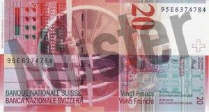 20 Schweizer Franken - CHF (Banknote / Geldschein) - Rückseite