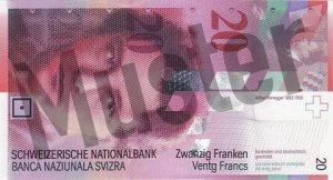 20 Schweizer Franken - CHF (Banknote / Geldschein) - Vorne