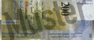 200 Schweizer Franken - CHF (Banknote / Geldschein) - Rückseite